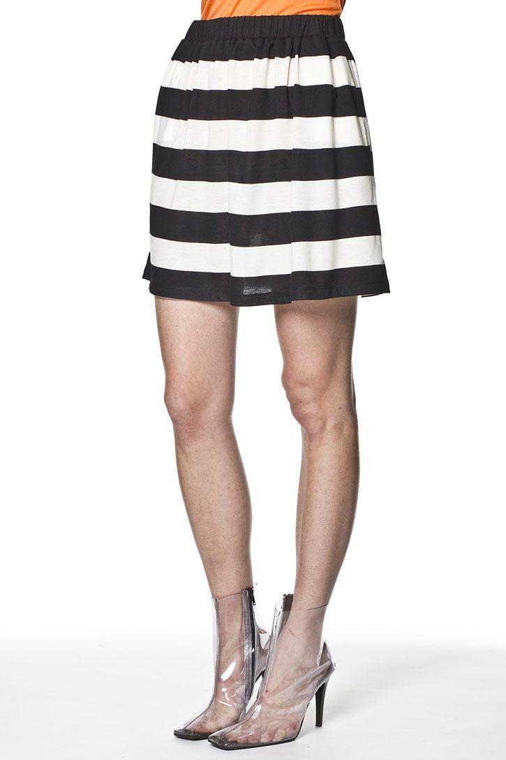 Ian Brooke Skirt Black White Stripe Black White Stripes