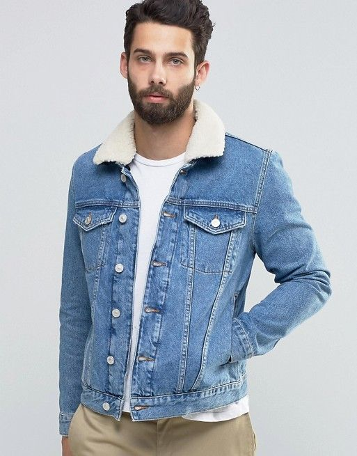 7b82ef2e579 River Island Denim Jacket In Light Wash Blue With Fleece Collar ...