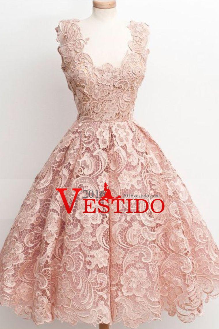 2016 Fiesta Vestidos de encaje una línea corta / mini US$ 119.99 ...