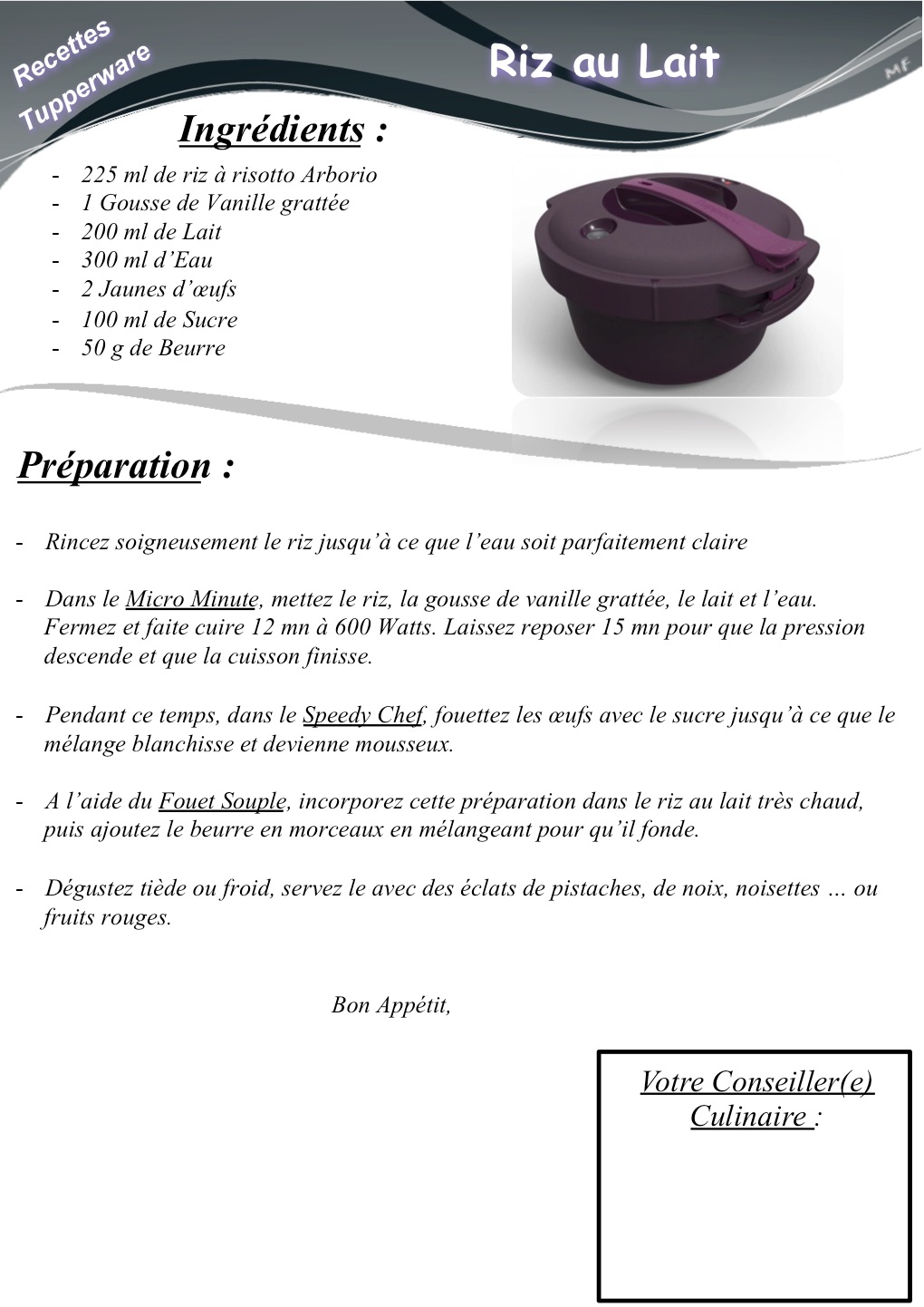 Ob ba7275 riz au lait micro minute 1020 1442 tupperware pinterest kiwi - Micro minute tupperware recette ...