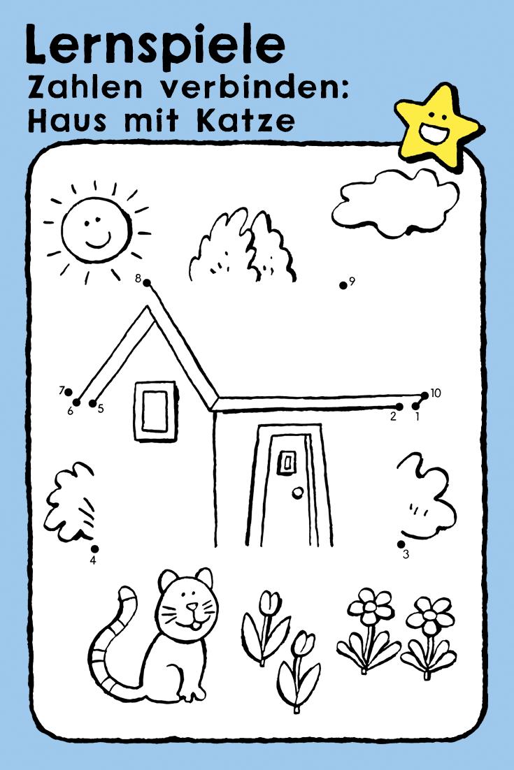 haus mit katze  kleurplaten kinderen rekenspelletjes