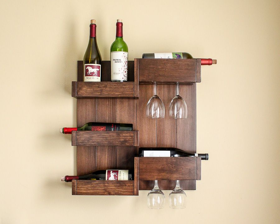 This Wall Mounted Wine Bar Is A Stylish Space Saving Storage Solution For Wine Bottles And Wine Glasses It Can Also Ser Wine Rack Design Diy Wine Bar Diy Wine