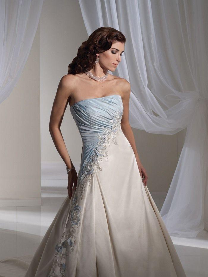 Blue wedding dress Light Blue and White Combination Wedding