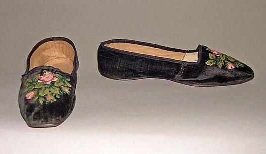 1844, bestickter Pantoffel aus Seide, Leder und Wolle, USA