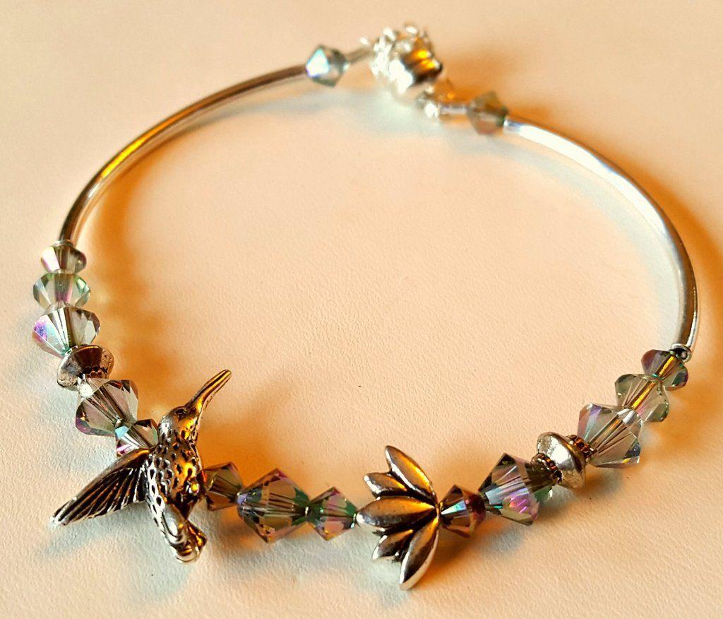 Crystal clasp bracelet 008 hummingbird lotus
