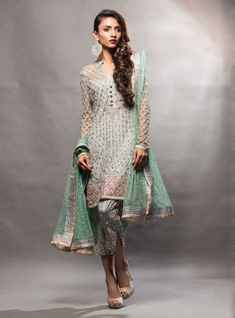 bf3a06977e Pakistani Party Wear Embroidered Shirts 2019-2020 Latest Designs ...