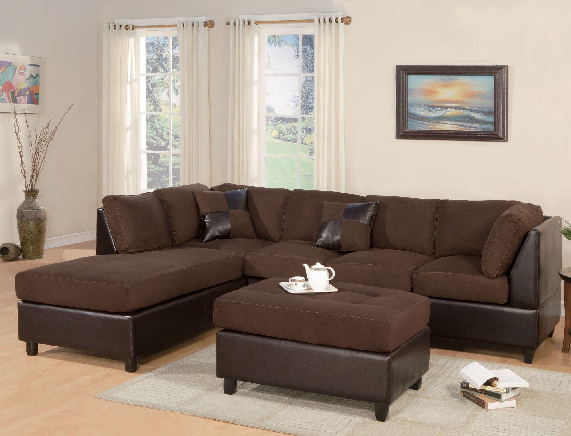 Liberty Reversible Sleeper Sectional Sectional Sofa Brown