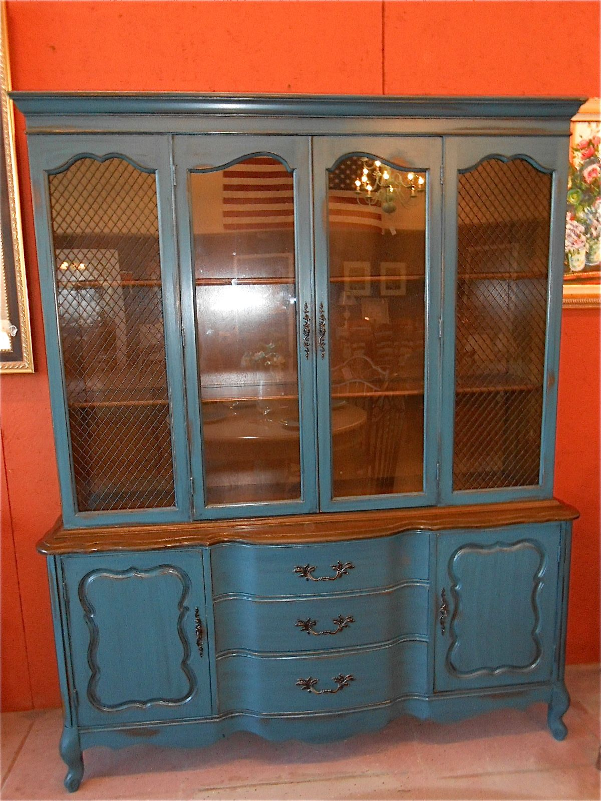 This French Provincial China Cabinet Hutch Was Painted In