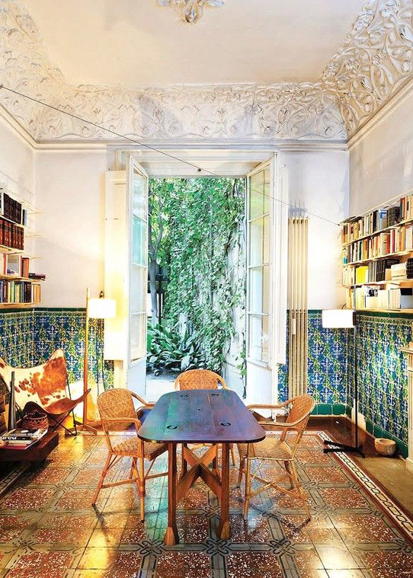mismatched floor lamps, collected pieces are unexpected and chic  //Barcelona Green Blue Tile Dining Room