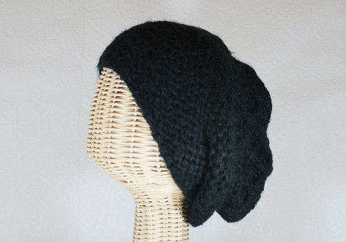 Slouchy Knit Black Charlotte Beanie