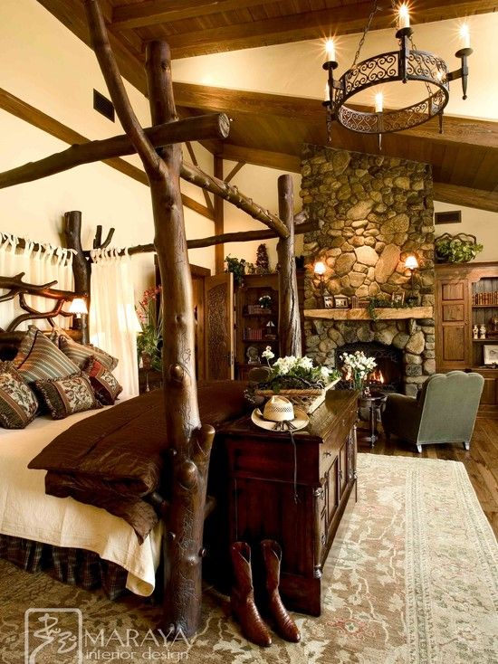 Traditional Bedroom Log Cabin Decorating Design, Pictures, Remodel
