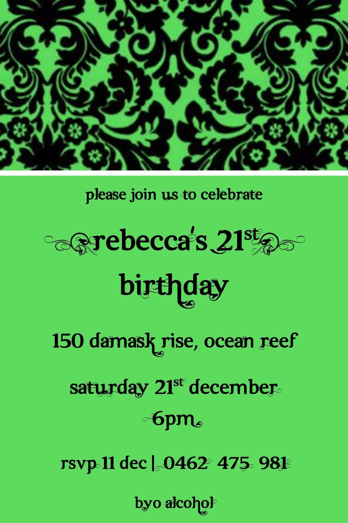 21st birthday invitation - green black | Invitations | Pinterest