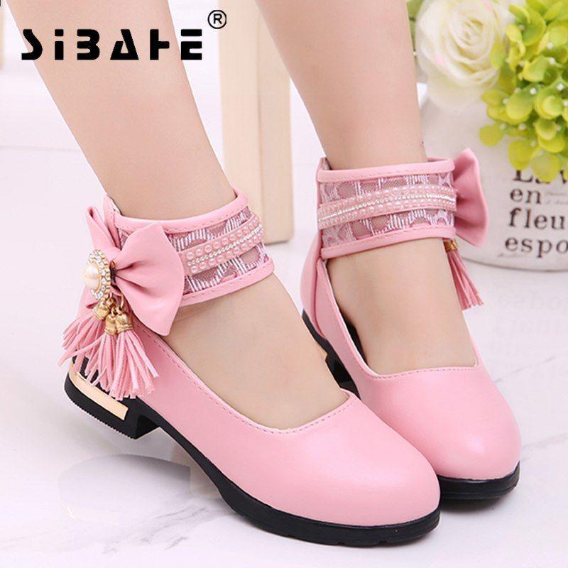 019e2967d Sbach niños niñas zapatos de cuero Partido niñas zapatos blancos zapatos de tacón  alto niños Rosa