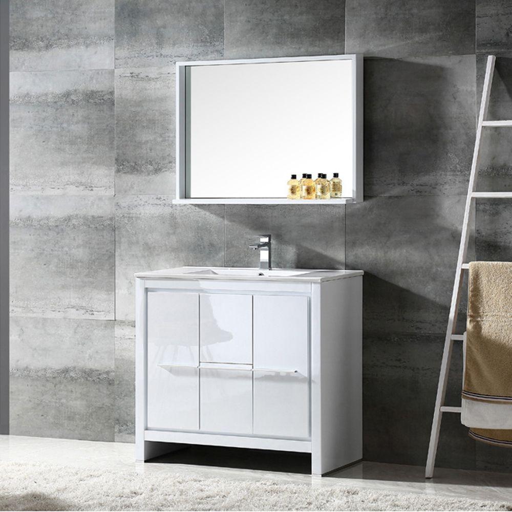 Fresca Allier 36-inch White Modern Bathroom Vanity with Mirror (36 ...