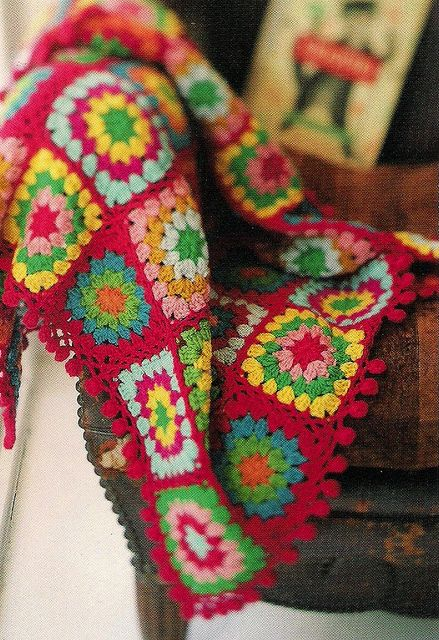 crochet blanket from a Japanese craft book by Townmouse, via Flickr