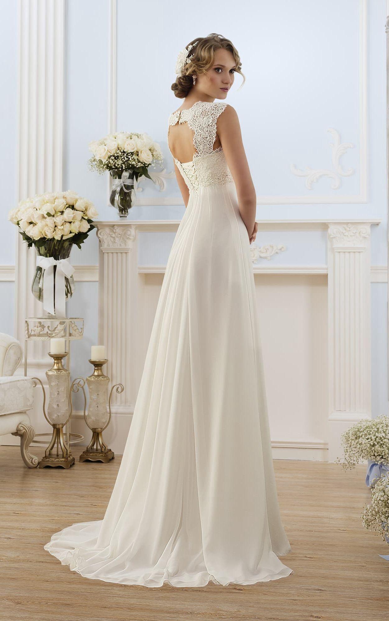 Cap Sleeve Lace Chiffon Long A Line Keyhole Gown Chiffon Wedding Dresses Lace Modest Wedding Gowns Wedding Dress Chiffon [ 2000 x 1251 Pixel ]