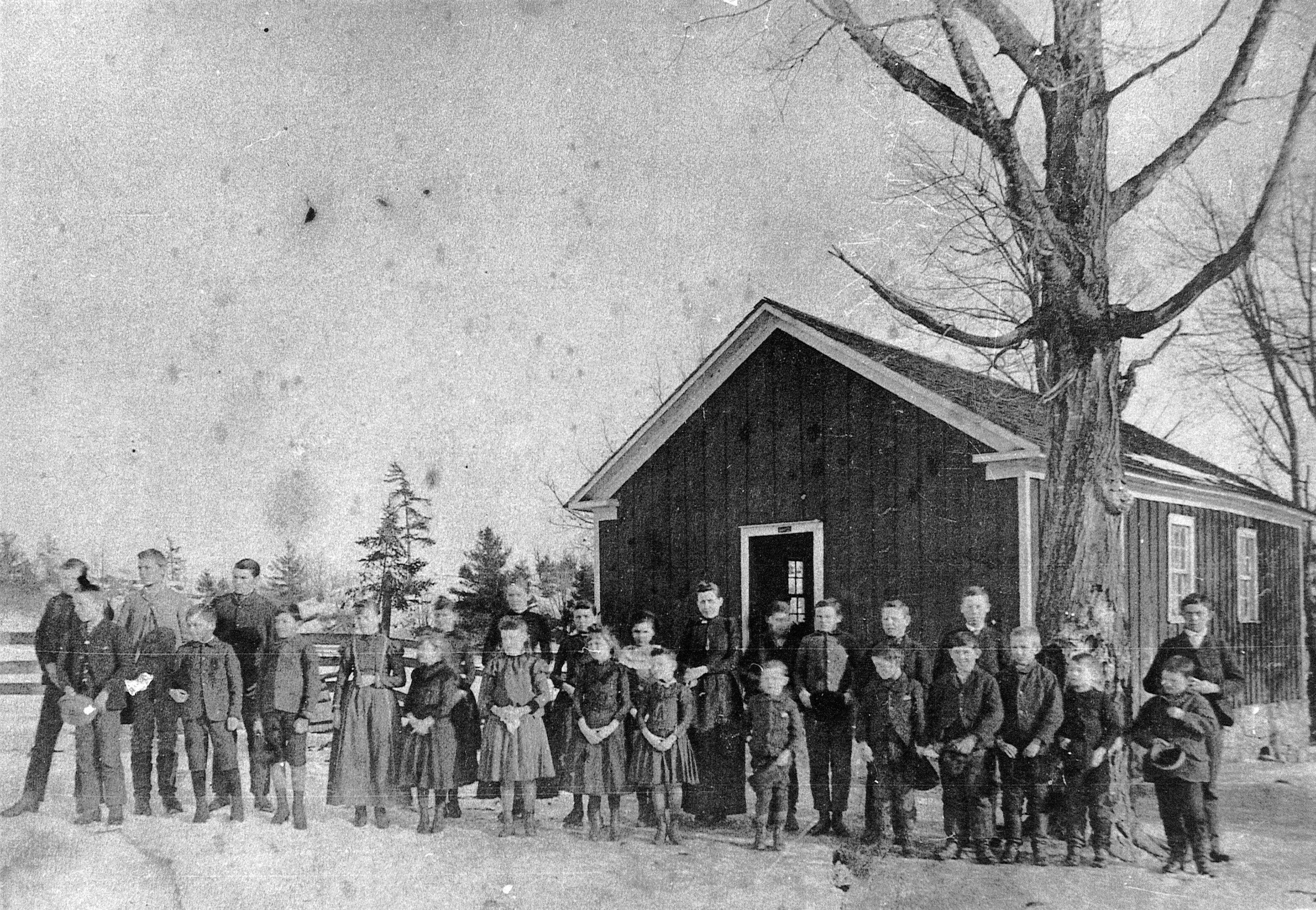 One room schoolhouse in Leeds, Ontario, 1881. Leeds