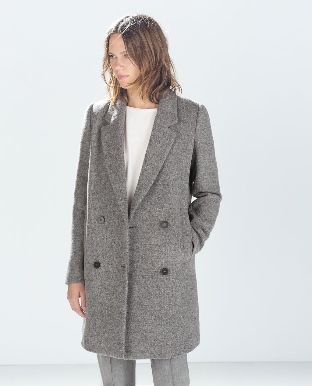 Image 4 Of Structured Coat From Zara Abrigos Pano Ropa