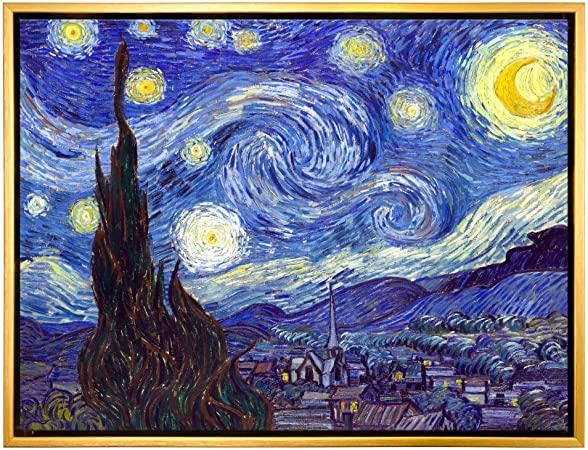 Amazon Com Wieco Art Framed Art Giclee Canvas Prints Of Starry Night By Van Gogh Paintings Re Starry Night Painting Starry Night Van Gogh Vincent Van Gogh Art