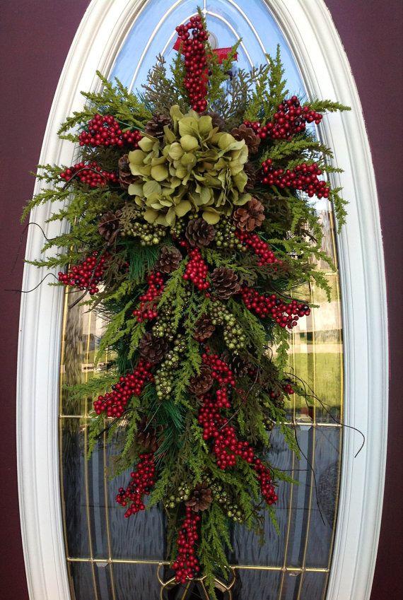 Christmas Wreath-Winter Wreath- Holiday Decor- Vertical- Teardrop ...