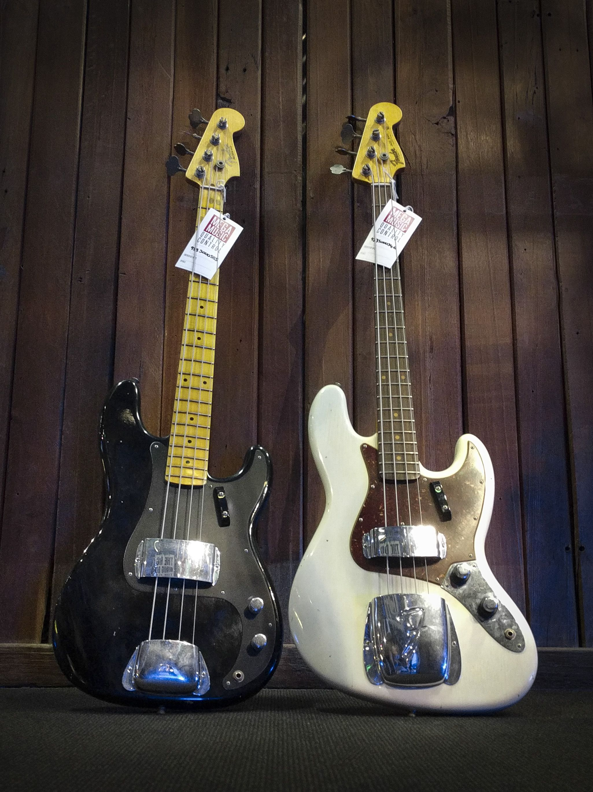 Fender Custom Shop Limited Edition 1958 Precision Bass Journeyman Relic In Aged Black And 1960 Jazz Bass Journeyman Relic In A Bass Guitar Fender P Bass Guitar