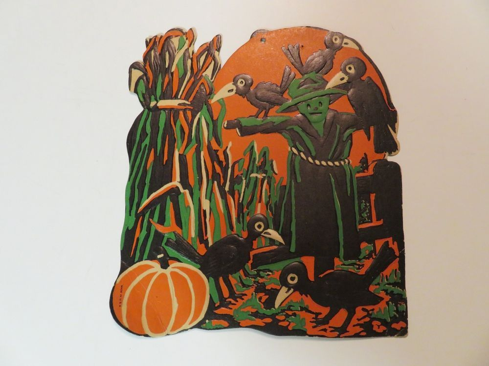 VINTAGE HALLOWEEN DECORATION-SCARECROW-CROWS-EMBOSSED-GREAT COLORS - vintage halloween decorations
