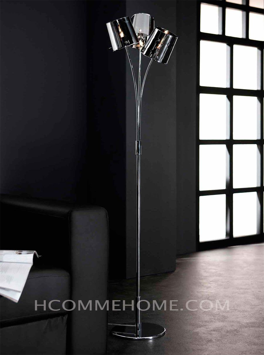 lampadaire design en verre et chrome lesia 3 lampes lampadaire halog ne hcommehome. Black Bedroom Furniture Sets. Home Design Ideas