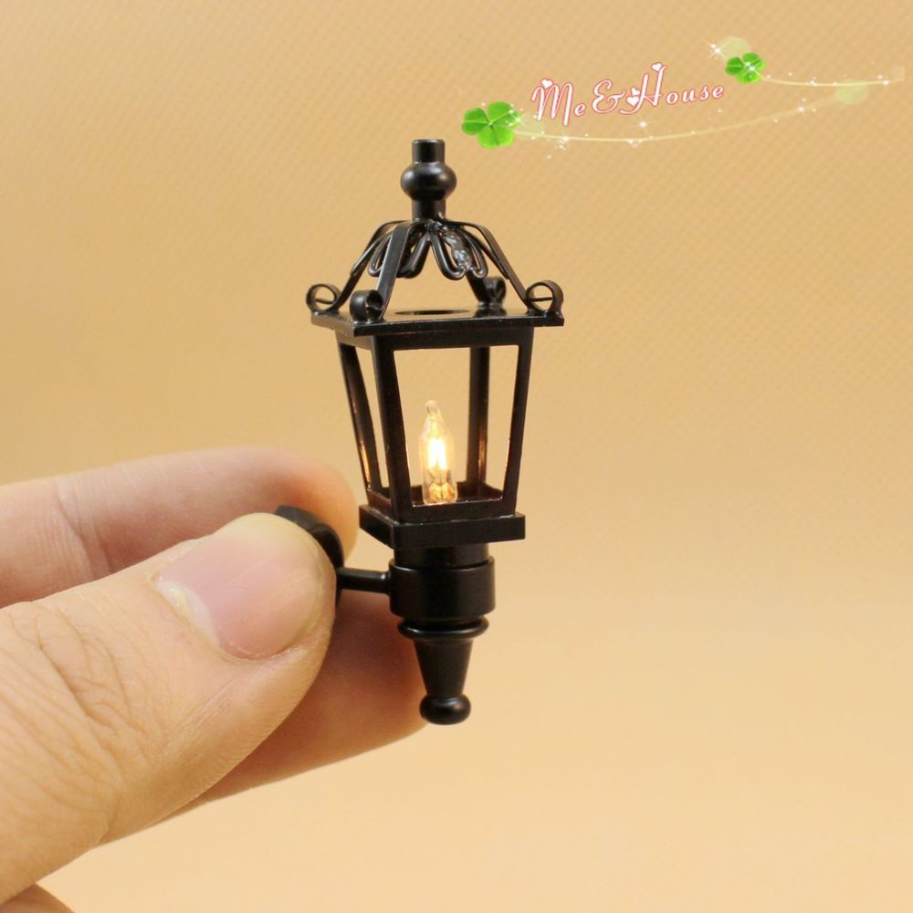 Dollhouse miniature 112 outdoor wall black lamp light with electric dollhouse miniature 112 outdoor wall black lamp light with electric wire 40006 unbranded mozeypictures Images