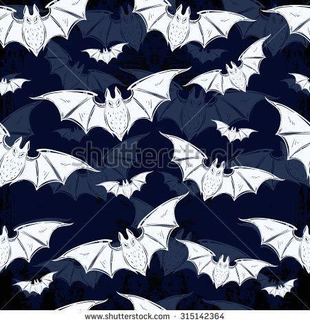 Seamless Halloween pattern. Halloween bats. Hand drawn holiday symbols. Isolated…