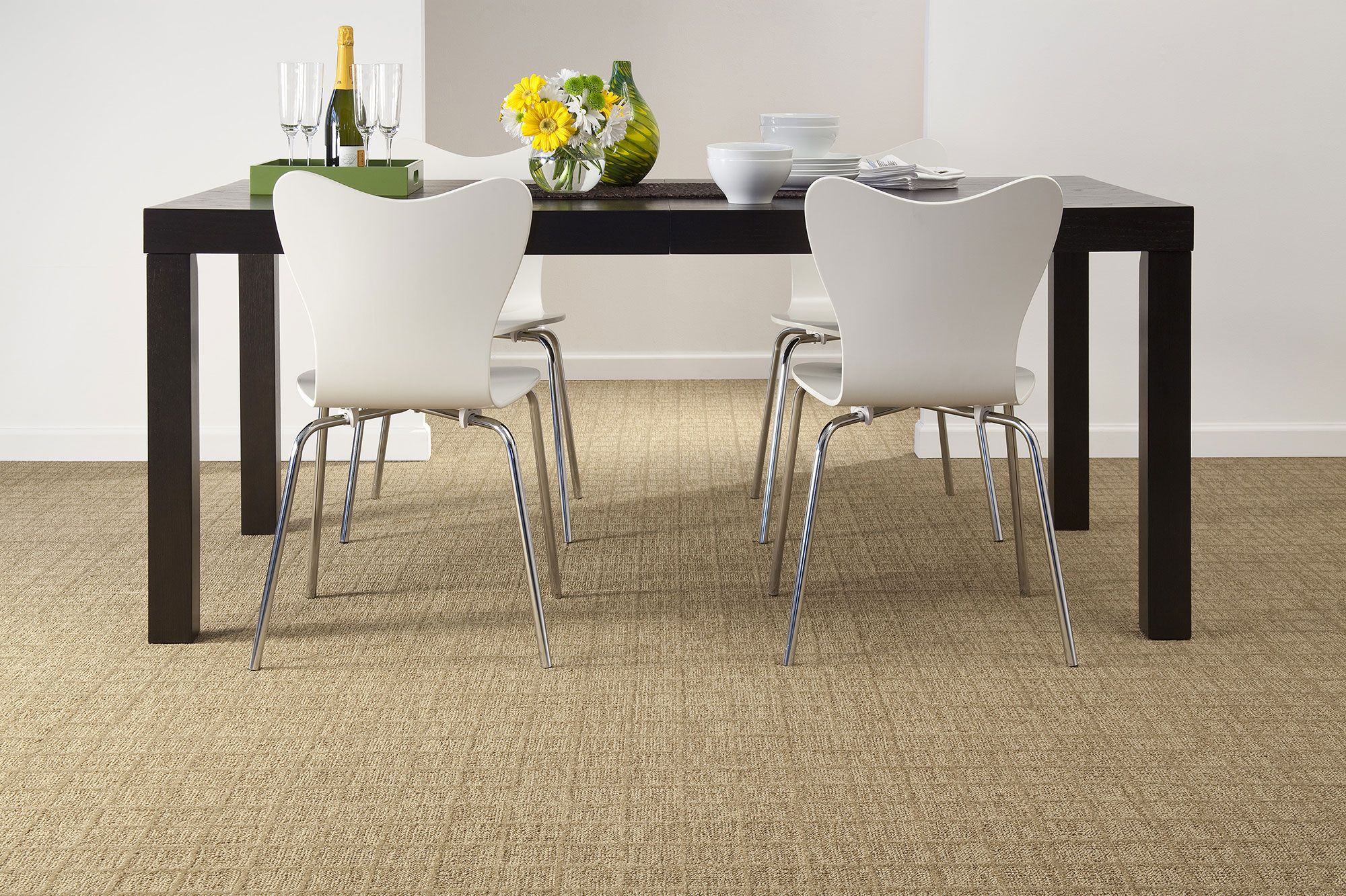 organic texture patterned carpet | dining room ideas | neutral