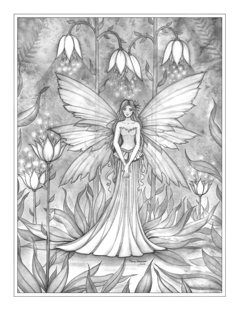 free grayscale fairy coloring page by molly harrison coloring pages pinterest fairy. Black Bedroom Furniture Sets. Home Design Ideas