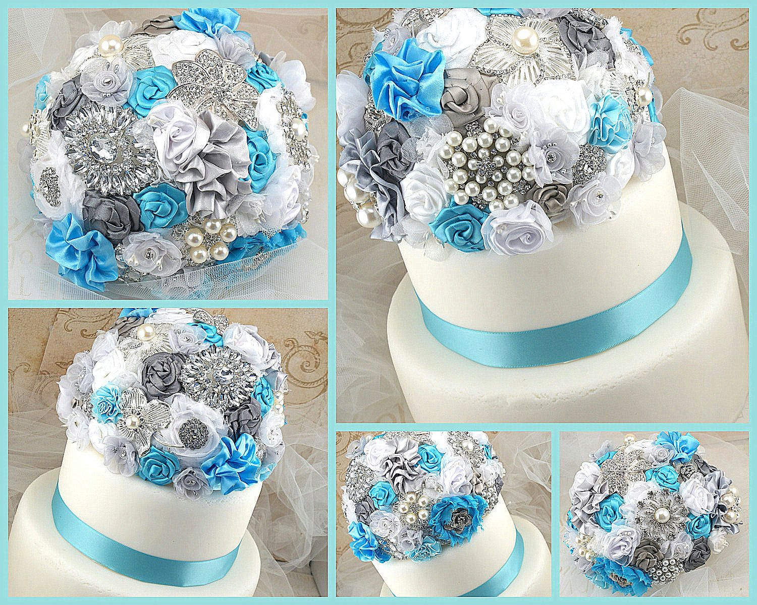 Wedding Cake Topper Brooch Jeweled In Turquoise White And Silver With Brooches