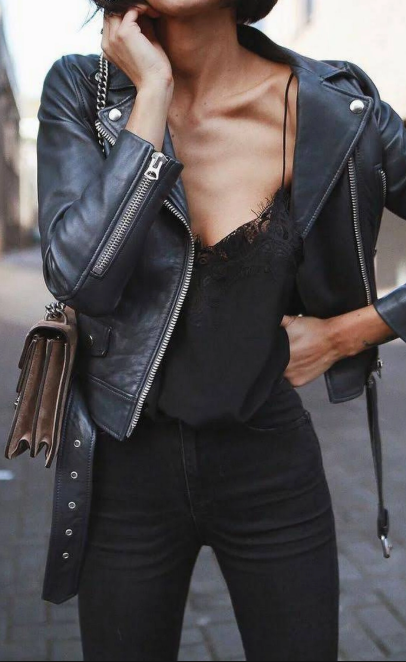 Leather jacket | Biker jack | Black jeans | Girl | Outfit | Lace ...