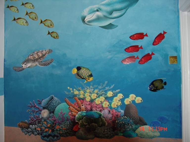 Underwater theme walls stickers dolphins sea turtles for Underwater mural ideas