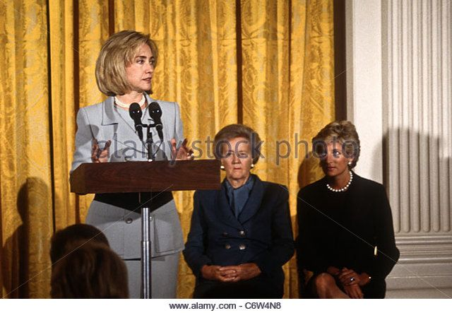 First Lady Hillary Clinton at an event with Katherine Graham and Princess Diana - Stock Image