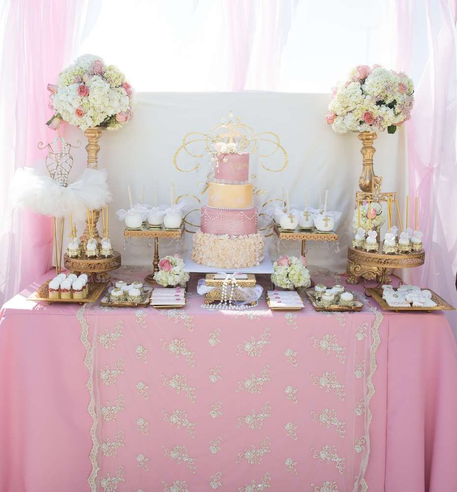 Pink And Gold Baptism Party Ideas Baptism Party Ideas Baptism