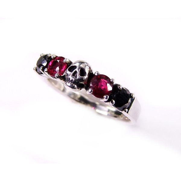 Skull Wedding Ring Black Diamond and Red Ruby Sterling Engagement Ring... ($255)…