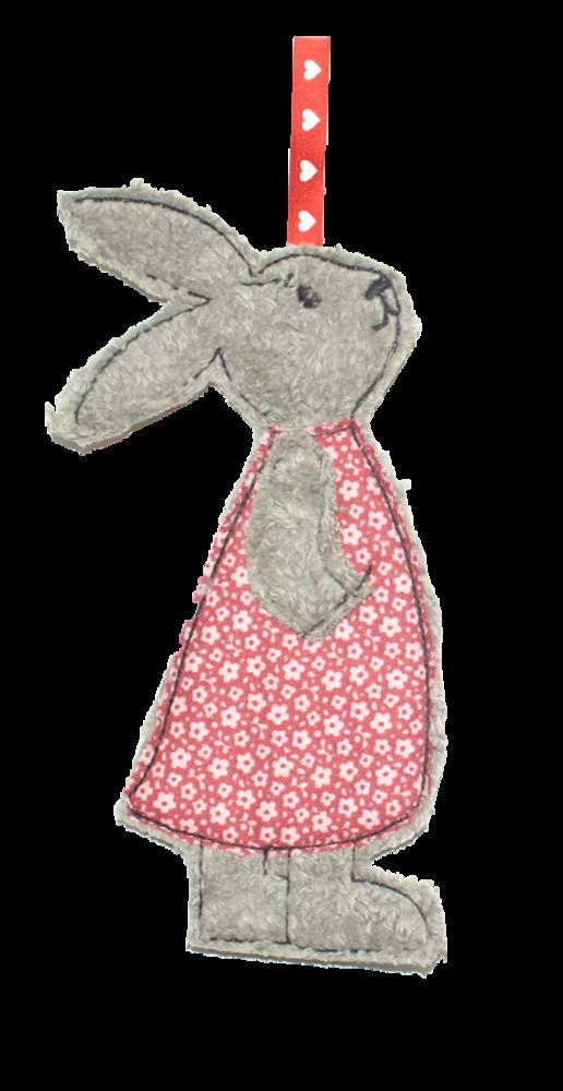 Photo of Fabric pendant – rabbit girl gray – flower red