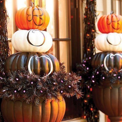 Boo Boutique Pumpkin Stacker Topiary Urn Filler Outdoor Halloween Porch  Decor