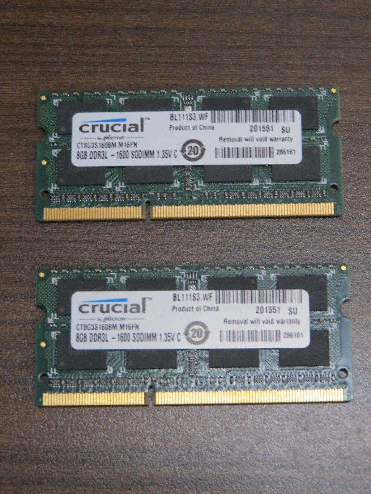 Crucial 16gb 2x8gb Pc3l 12800s Ddr3l 1600 Sodimm Laptop Ram Memory