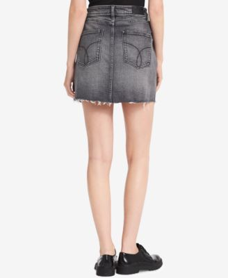11c1d0d189 Calvin Klein Jeans Frayed Denim Skirt - Gray 12 | Products | Denim ...