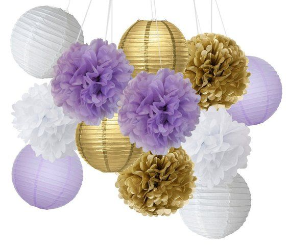 f038e714efa Set of 12 Mixed Purple Gold White Tissue Pompoms Hanging Paper Lantern  Flower Ball Wedding Birthday