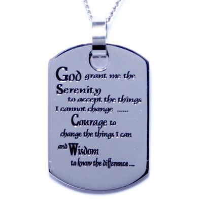 Serenity Prayer Stainless Steel Dog Tag Pendant Necklace Free Chain
