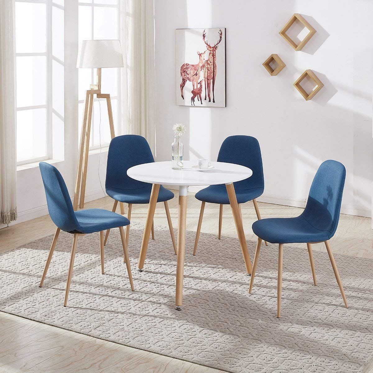 f02f8c66a804 GreenForest Dining Table White Modern Round Table with Wood Legs for Kitchen  Living Room Leisure Coffee Table Office Coference Desk     Check out the  image ...