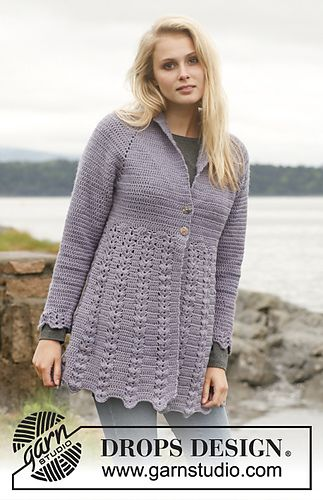 DROPS Crochet Lavender Mist Jacket free pattern | Crocheting ...