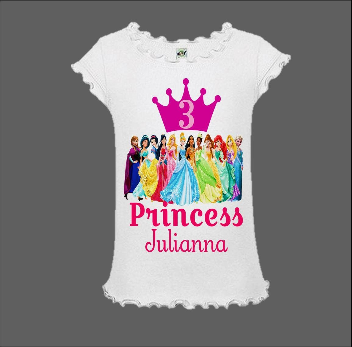 Girls Princess Birthday Party T SHIRT Personalized Match Tutu crown 4th 5th 6th