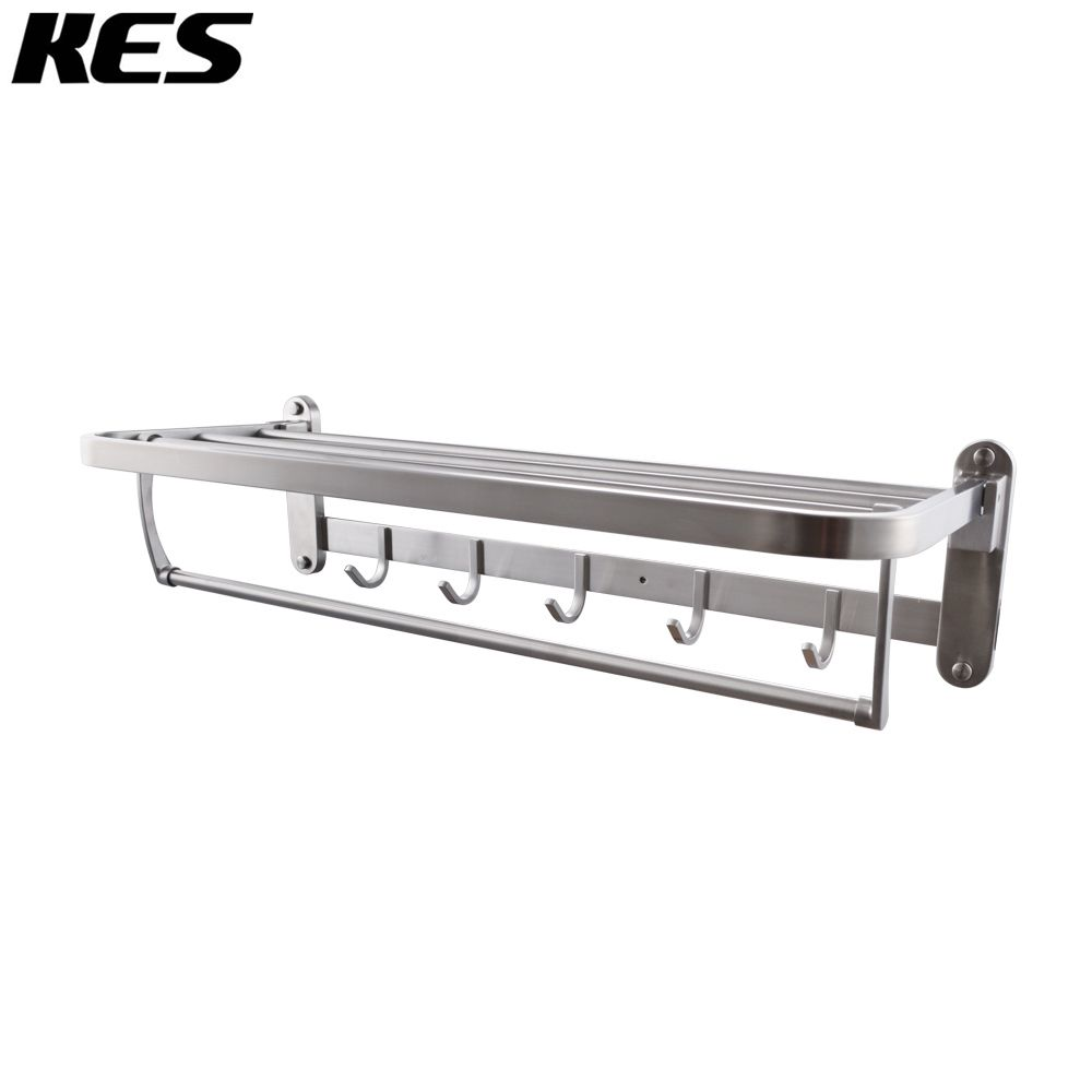 KES T-304 Folding Bathroom Shelf Hotel Towel Rack with Swing Shower ...