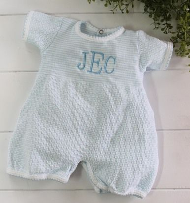 Photo of Baby Boys Blue Striped Layette Romper Outfit | Paty Inc Baby Clothes