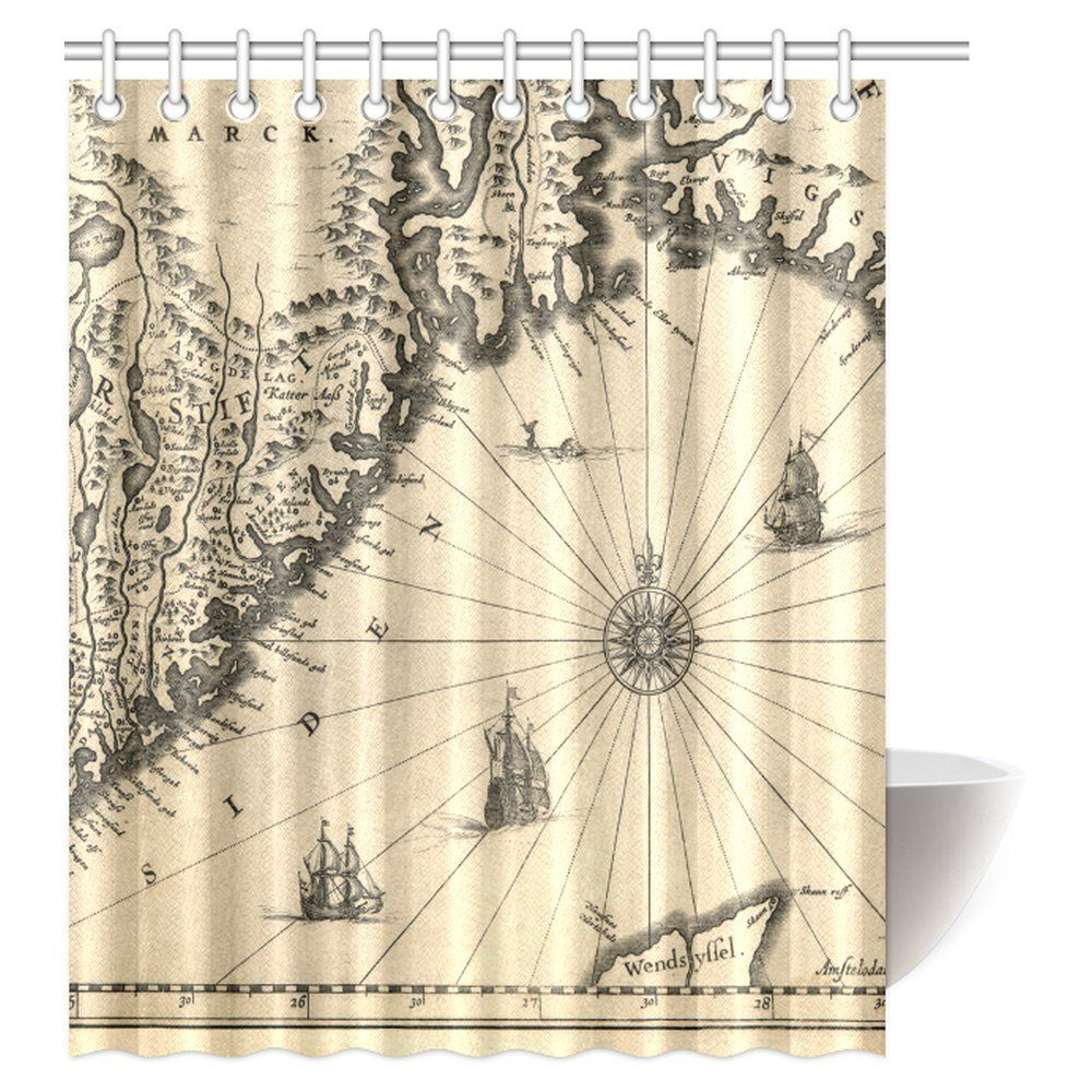 Buy MYPOP Ancient Map Of Southern Part The Norway Vikings World Old Scandinavian Lands Print Fabric Bathroom Shower Curtain 60 X 72 Inches At Walmart