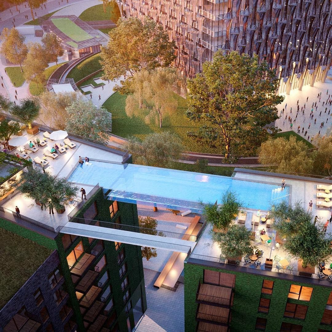 Next month the embassygardens will make its debut in for Alberca cristal londres